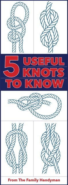We'll show you how to become a master maker of five different knots. Including the bowline, figure square knot, sheet bend and the double half hitches. Read on to learn how! Paracord Knots, Rope Knots, Macrame Knots, Survival Knots, Survival Skills, Bowline Knot, Best Knots, Nautical Knots, The Knot