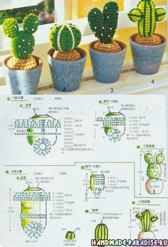 Схемы Cactus di fioritura a maglia. schemiCactus di fioritura a maglia. Crochet Puff Flower, Crochet Cactus, Crochet Diy, Knitted Flowers, Crochet Flower Patterns, Crochet Home, Love Crochet, Crochet Dolls, Deco Cactus