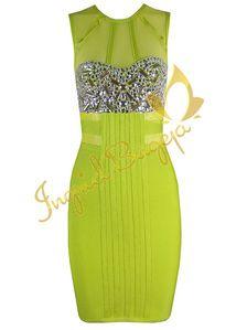 'JADE' LIME GREEN CRYSTAL BEADED MESH BODYCON BANDAGE DRESS BY INGRID BUGEJA
