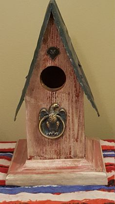 Decorative Patriotic Birdhouse by TheArtUpstairs on Etsy