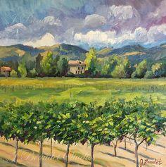 Original Oil #Painting #Winery, #Vineyard, #impressionist art, #California #landscape by JBeaudetStudios on Etsy