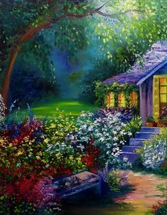 Summer Cottage Painting by Marina Wirtz