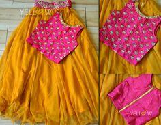 Different types of kids lehenga choli designs - ArtsyCraftsyDad Lehenga Choli Designs, Kids Lehenga Choli, Chaniya Choli For Kids, Lehanga For Kids, Sarees, Frocks For Girls, Little Girl Dresses, Girls Dresses, Baby Dresses