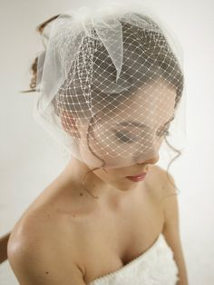 Double layer birdcage wedding veil, russian netting wedding veil, mini veil, simple birdcage veil, Olivia - Style V14