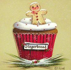 Christmas Cupcake Print Gingerbread Cookie