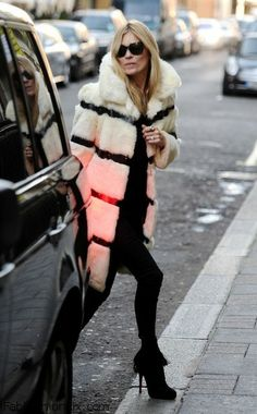 Kate Moss wearing fur coat