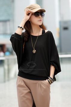 2acb83ed748 Scoop Neckline Casual Loose-Fitting Style Solid Color Long Dolman Sleeve  Knitting Sweater For Women