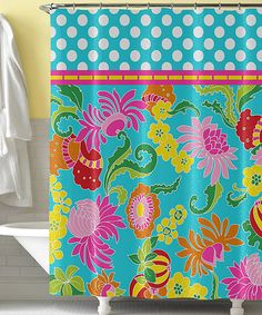 Aqua & Pink Floral Shower Curtain   Daily deals for moms, babies and kids