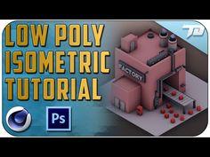 Low Poly Isometric Scene Process Tutorial   Cinema 4D + Photoshop - YouTube