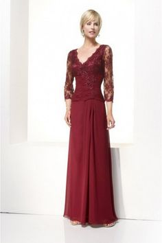 Modest V-Neck Sheath/Column Burgundy Mother of the Bride Dresses