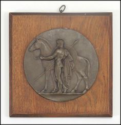 Ferdinand Levillain (FRENCH, 1837 - 1905) Soldier and Horse : Lot 132-6076 #levillain #french #plaque #bronze