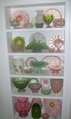 Green and pink depression glass