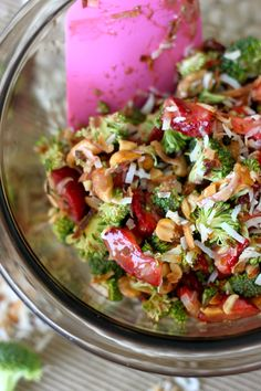 Strawberry Broccoli Salad  1½ c. chopped strawberries 1½ c. broccoli, cut with most of the stems removed ¼ c. salted cashews, chopped 2 TB (or more) toasted coconut (For the Dressing) 2 TB. greek yogurt, plain 1 TB. balsamic vinegar 2 TB. honey sprinkle of cinnamon