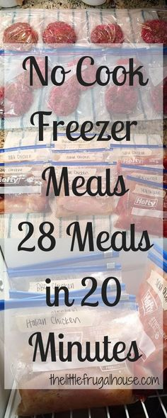 Get ahead and make some quick dinners for those busy nights! These no cook freezer meals are perfect for busy families! Get 28 meals made in 20 minutes! meals make ahead easy No Cook Freezer Meals - 28 Meals in 20 Minutes - The Little Frugal House Slow Cooker Freezer Meals, Make Ahead Freezer Meals, Crock Pot Freezer, Dump Meals, No Cook Meals, Freezer Recipes, Quick Meals For Dinner, Freezer Dinner, Meal Prep Freezer
