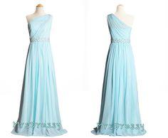 pastel blue, light sky blue, baby blue sheer one shoulder beaded waist line long prom dress, bridesmaid dress for 2016