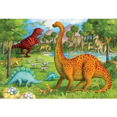 """Two cool blue Stegosaurus and a fiery spotted Apatosaurus roam amongst the lush green meadow. Uh-oh, is that a red Tyrannosaurus Rex lurking out of the jungle? Ravensburger has been in the puzzle business for over 125 years, and bring that experience and quality to their line of fun and educational puzzles for kids; Floor puzzles feature an Easy-Clean surface which helps keep puzzles looking bright and new Extra durable, gigantic pieces (approx. 9""""x7"""") have been designed specifically to…"""