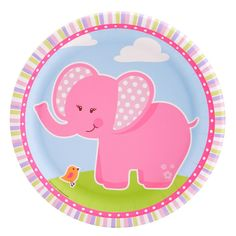 Pink Elephants Dinner Plates    iparty.com