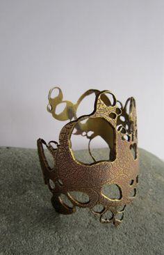 Etched Solid Brass Barnacle Cuff Wearable Art by KarenBlackerby