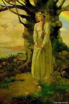 Идунн — богиня-хранительница чудесных молодильных яблок. Ее мужем был сын Одина, бог красноречия Браги. Волшебную яблоню лелеяли и охраняли три мудрые норны. Только богине весны Идунн позволяли они собирать чудесные плоды.