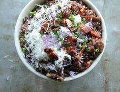 Red Wine Risotto with Bacon and Onion