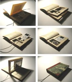 recycle book into i pod charging station (cell phone charging station). This is really cool but I'm not sure I could bring myself to cut up a book lol