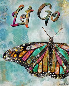Let Go by Jennifer Lambein. Art, Artist, Butterfly, Mixed Media, Watercolor, Collage, Spring, Summer, Typography, Pattern, Home Decor, Art Licensing, Etsy, Print, Blue