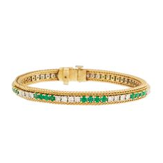 14K White and Yellow Gold Diamond and Emerald Tennis Bracelet | TrueFacet