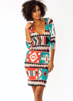 Pueblo Printed Bodycon Dress