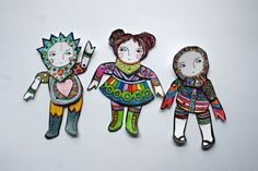 articulated paper dolls COLOUR YOUR OWN paper doll by humbletoys
