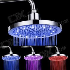 SHENDING LD8030-B2 Blue / Red / Pink LED Temperature Controlled Rainfall Shower Sprayer - Silver