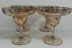 Margarita Glasses Gold Fleck Dorothy Thorpe by Snowyowltreasures