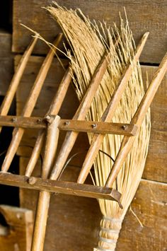 Wooden pitchfork in the Grube barn at the Schulz farm / German Area of Old World Wisconsin, USA