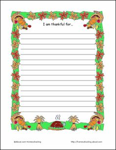 Thanksgiving Printables: Thanksgiving Theme Paper - I am thankful for...