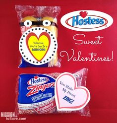 For Valentine's Day this year make these Sweet Hostess Valentines.  Get Free Printable Tags to make these cute Valentines gifts.