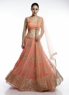 Coral and gold floral sequins embroidered lehenga Latest Bridal Dresses, Bridal Outfits, Wedding Dresses, Girl Outfits, Net Lehenga, Anarkali, Sharara, Indian Designer Outfits, Designer Dresses