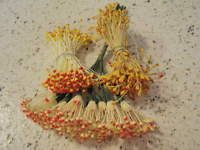 Vintage Millinery Flower Stamen Lot Collection Yellow Red Trim For Hat EC35