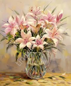 "Dzhanilyatti Antonio. ""Лилии в кувшине"" картина раскраска по номерам, размер 40*50см, картины своими руками. 750 руб."