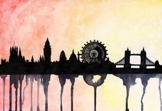 London Skyline Watercolour by paintthemoment on Etsy