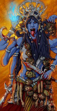 Kali by TheKrushalator on DeviantArt Kali Shiva, Kali Mata, Shiva Art, Hindu Art, Kali Tattoo, Kali Goddess, Goddess Art, Goddess Tattoo, The Blues Brothers
