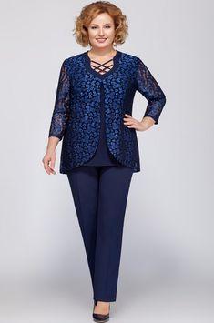 Костюм LaKona, тёмно-синий (модель 1003-1) — Белорусский трикотаж в интернет-магазине «Швейная традиция» Fashion Pants, Girl Fashion, Fashion Outfits, Womens Fashion, Mother Of The Bride Plus Size, Looks Plus Size, Mom Dress, African Fashion Dresses, Muslim Fashion