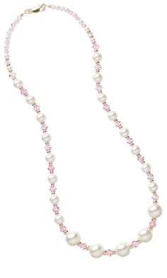 Single-Strand Necklace with Swarovski Crystal Beads and Swarovski Crystal Pearl Beads