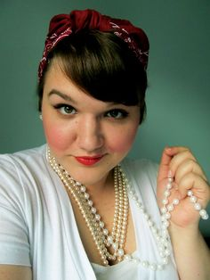 thewelldressedpeacock: red bandana- Vintage (My Papa's!), Shirt- Target. Layered Pearls- Forever 21, Single Strand- (I think I got them at Mardi Gras?), Red Lipstick- Chanel #plus-size #fatshion #brunette