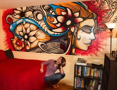 Ideas For Street Art Mural Interior Mural Wall Art, Graffiti Wall, Wall Art Designs, Paint Designs, Brandon Boyd Art, Music Painting, House Painting, Deco Originale, Wall Drawing