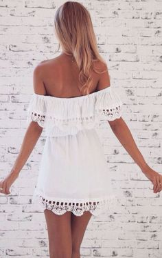 little white off the shoulder dress: @roressclothes closet ideas #women fashion outfit #clothing style apparel