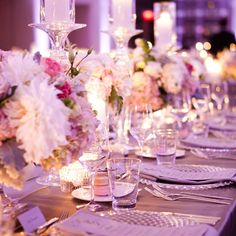The tablescapes shine with silver, blush and candlelight at a romantic @Four Seasons Hotel Toronto reception.