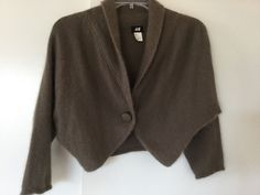 Fuzzy Brown H&M Angora Shrug Bolero Fall Autumn Sweater Classic Earthy Hue Sz L #HM #BoleroShrug