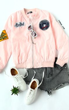 Pink Embroidered Patch Zipper Bomber Jacket
