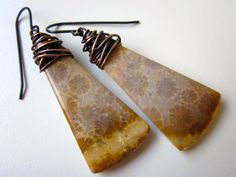 Gobi - sandy brown wire wrapped Indonesian fossilized coral stones and warm antiqued black brass earring pair by LoveRoot, $35.00