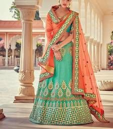Turquoise embroidered silk unstitched lehenga with dupatta Shop Online