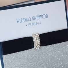 silver and navy blue receptions | Navy & Silver Glitter Pocket Wedding Invitation Boxed